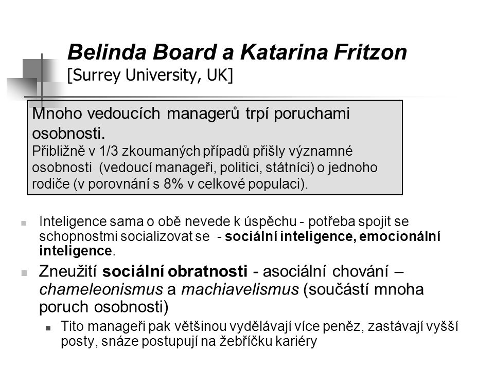 Belinda Board a Katarina Fritzon [Surrey University, UK]
